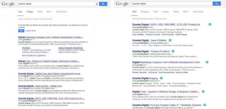 Google SERP design comparison